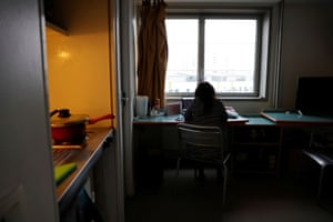 Chaimae Irfaq, 24, business student, attends a virtual class in her room at a CROUS student residence in Paris, France, on 18 February, 2021.