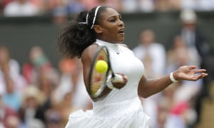 Serena Williams fires off a forehand.