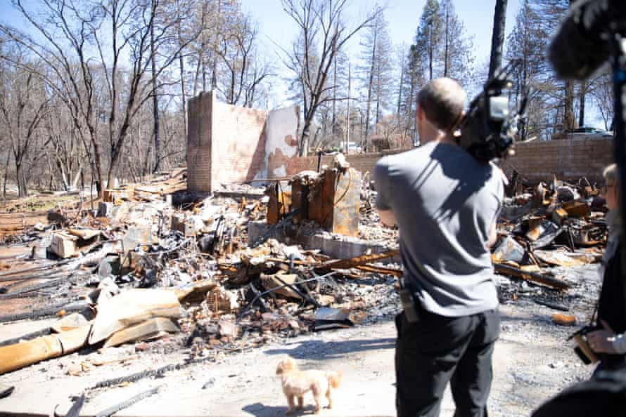 Lincoln Else, Rebuilding Paradise's director of photography, films a property in Paradise after the 2018 fire
