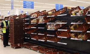 Empty shelves at a Tesco superstore yesterday in London, United Kingdom.