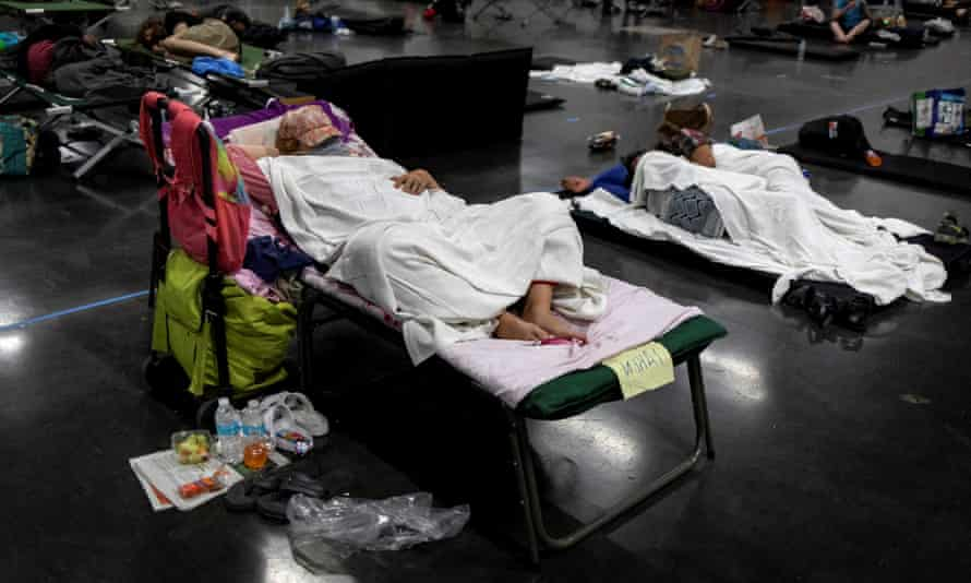 People sleep at a cooling shelter in Portland, Oregon.