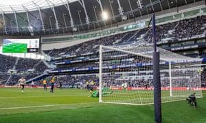 J'Neil Bennett scores the first goal at the Tottenham Hotspur Stadium.