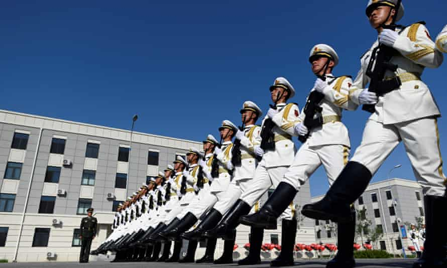 Chinese troops drill ahead of the 70th anniversary of the founding of the People's Republic of China.