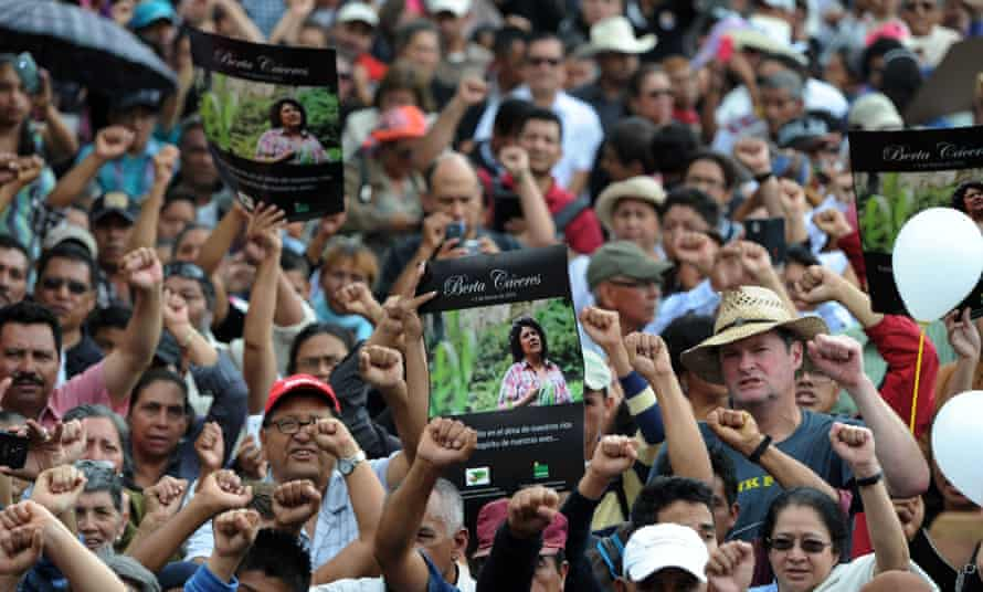 Hundreds gathered for the funeral of murdered indigenous activist Berta Caceres, in La Esperanza on March 5, 2016.