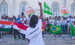 After the General Assembly closed the young people celebrated on the balcony of the Copacabana Palace Hotel