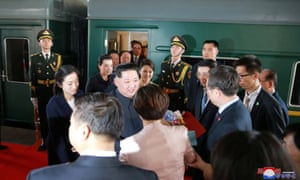 North Korean leader Kim Jong-un and his wife on an unofficial visit to China in March