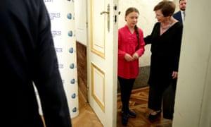 Doris Schmidauer, wife of Austrian President Van der Bellen, chats to Swedish climate activist Greta Thunberg before the start of the R20 Austrian World Summit in Vienna, Austria