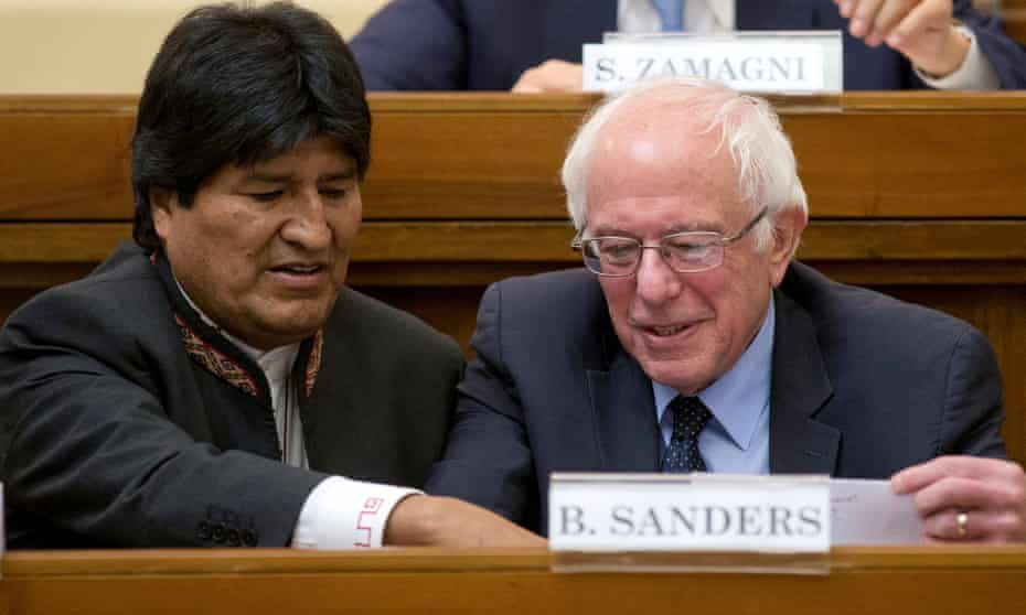 Two peas in a pod? Evo Morales and Bernie Sanders together during a conference at the Vatican.