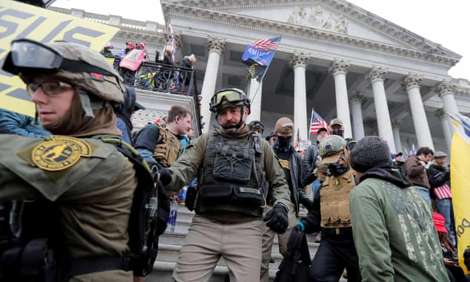 Oath Keepers members at the Capitol on 6 January. The post-Capitol attack membership surge is evident in payment records from the Oath Keepers website.