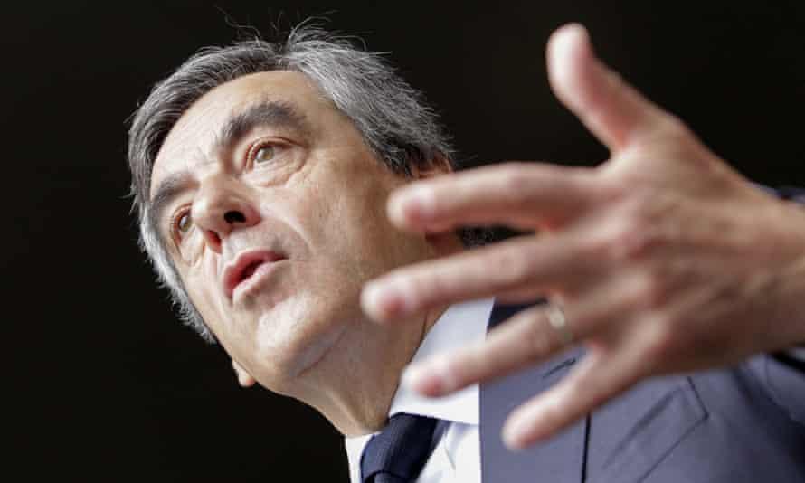 Les Republicains party candidate François Fillon speaks in Biguglia as part of a visit to Corsica.