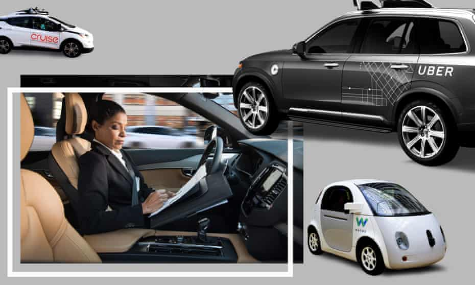 From left: a Cruise self-driving car; a woman reads inside an autonomous Volvo; a Waymo driverless vehicle.
