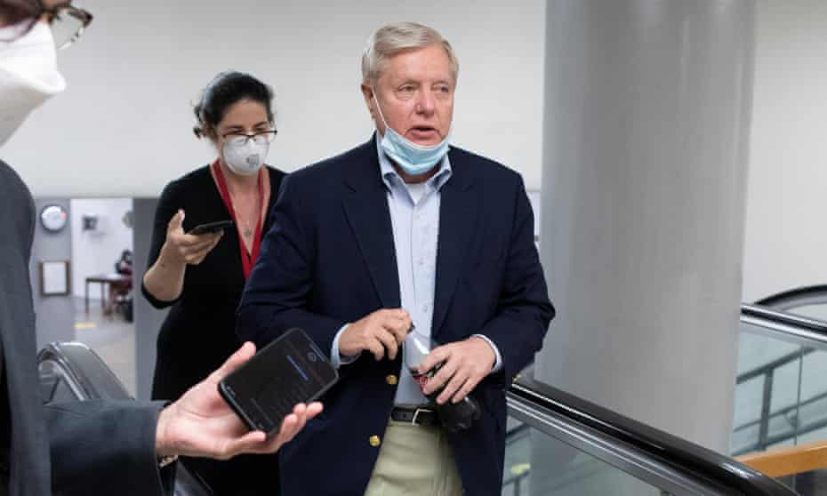 Senator Lindsey Graham said he was glad he had taken the vaccine and said 92% of people hospitalized in South Carolina with Covid-19 were unvaccinated. 'False1' the crowd cried.