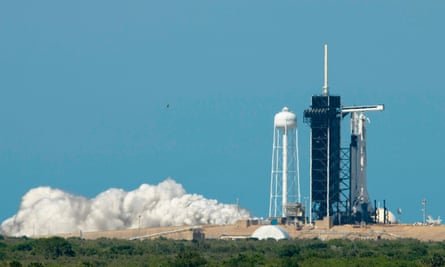 A test firing of the SpaceX Falcon 9 on the launchpad at Kennedy space centre in Florida