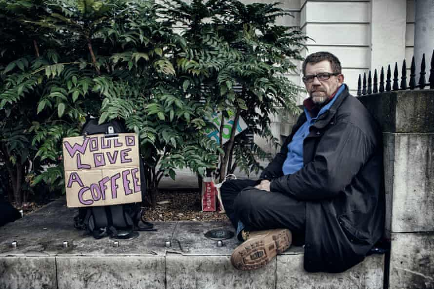 Andy, Homeless in St. Martins In The Field Church Plaza.