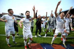 Newport, celebrating after reaching the League Two play-off final, are having to train in Cardiff.