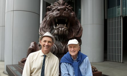 Rylance with his father David Waters outside HSBC bank in Hong Kong.