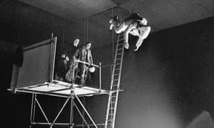 Bill Weston being launched from a platform 10 metres above the studio floor while filming 2001: A Space Odyssey.