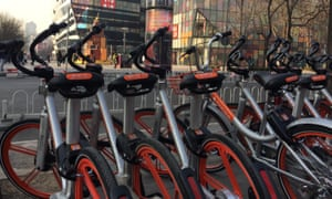 A rank of Mobikes in Beijing.