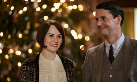 A happy Christmas… Downton Abbey's Lady Mary Crawley and Henry Talbot, played by Michelle Dockery and Matthew Goode.