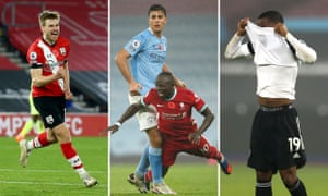 From left: Stuart Armstrong celebrates for Southampton, Rodri struggles to contain Sadio Mané, while Ademola Lookman contemplates his late chance for Fulham.