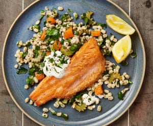 Yotam Ottolenghi's hot smoked trout with pearl barley and soured cream.