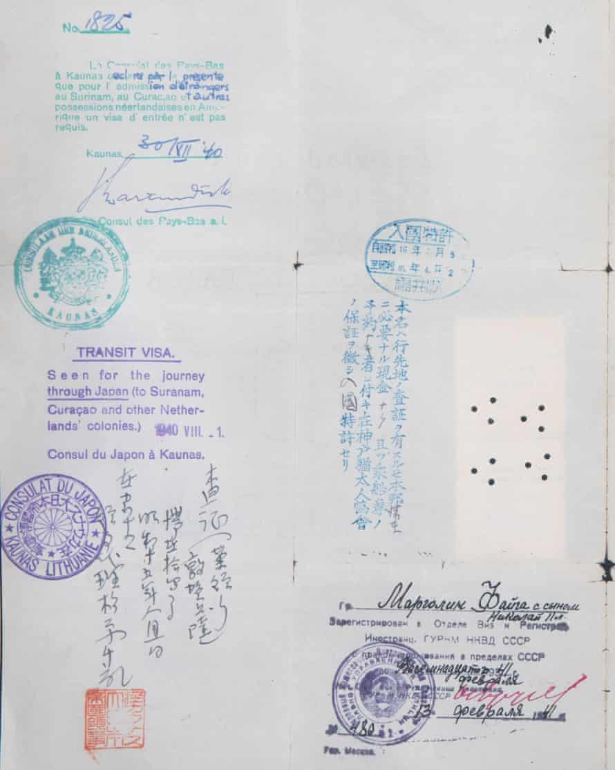 The Japanese transit visa, which is currently held in the National Archives of Australia, that Chiune Sugihara issued to Mark Margolin in 1940 that allowed him and his family to escape Europe.