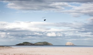"""Looking out over the Firth of Forth from Yellowcraig beach near North Berwick, east of Edinburgh. The three islands of Lamb, Craigleith and the Bass Rock are on the horizon."""""""