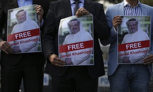 People gather outside the Saudi consulate in Istanbul in support of Jamal Kashogg,i who has lived in the US since Prince Mohammed bin Salman's rise to power.