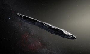 An artist's impression of interstellar asteroid 'Oumuamua - which is actually red, apparently ...