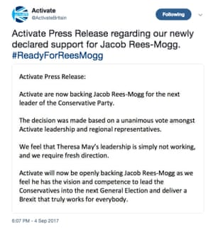 @ActivateBritain tweet claiming the group backs Rees-Mogg for PM