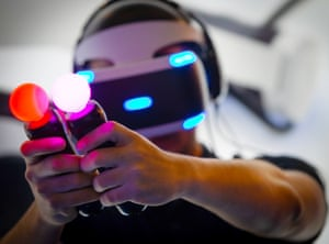 Barcelona, Spain: A visitor tests a virtual reality video game during the first day of the third edition of Barcelona Games World