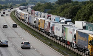 Lorries backed up on the M20 near Dover in 2015 – this could become a common sight.