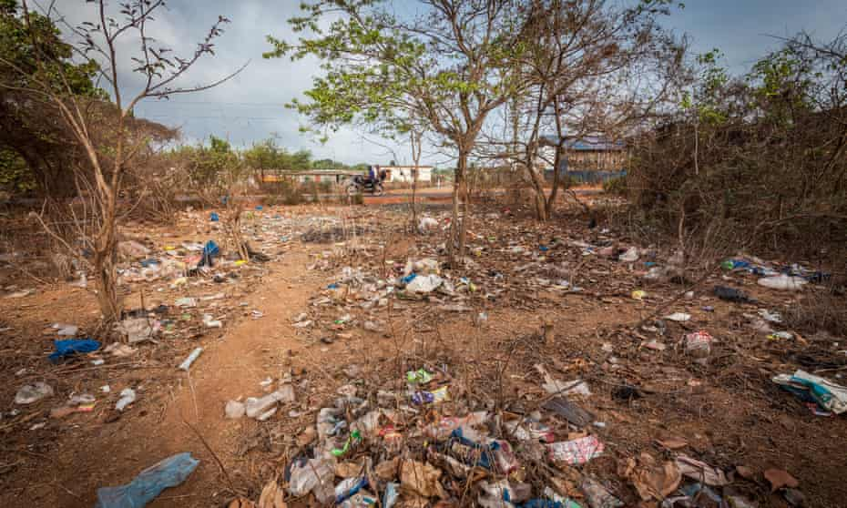 A scene from a rubbish-strewn area on the edge of Assagao, Goa.