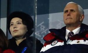 Kim Yo-jong and Mike Pence
