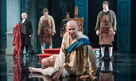 The Madness of George III … Mark Gatiss, centre, in the Nottingham production with Adrian Scarborough, David Hounslow, Andrew Joshi and Harry Kershaw.