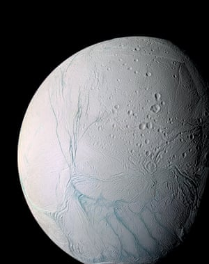 9 March 2005 and 14 July 2005A masterpiece of deep time and wrenching gravity – the tortured surface of Saturn's moon Enceladus and its fascinating ongoing geologic activity tell the story of the ancient and present struggles of one tiny world. This enhanced colour mosaic is largely of the southern hemisphere. Ancient craters remain somewhat pristine in some locales, but have relaxed in others. The south polar terrain is marked by a striking set of 'blue' fractures and encircled by a continuous chain of folds and ridges, testament to the forces within Enceladus that have yet to be silenced.