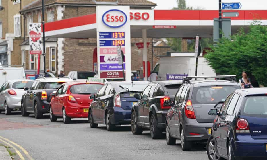 Drivers queue for petrol in Brockley, south London, September 2021