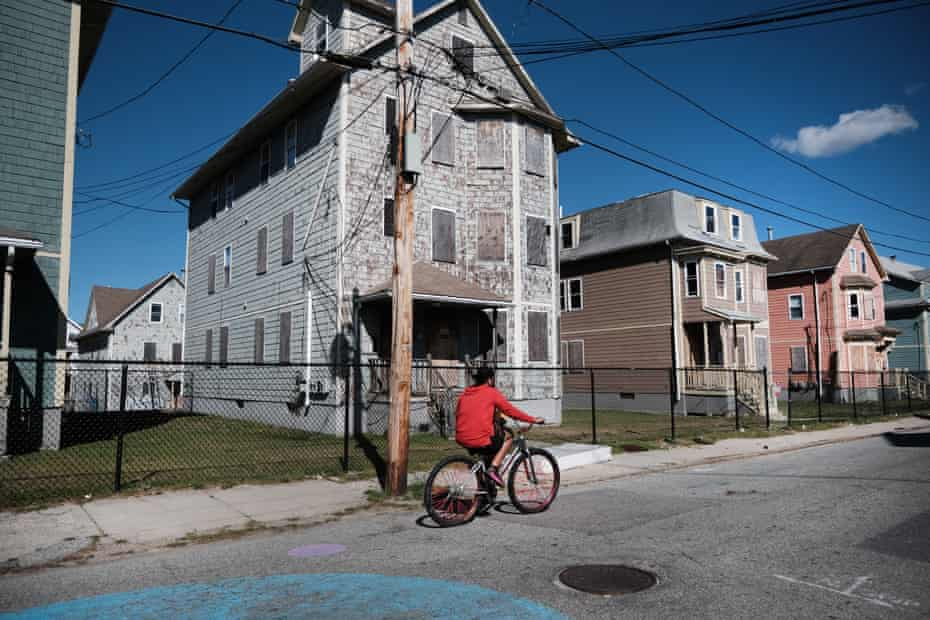 Homes are shown boarded up on April 08, 2021 in Providence, Rhode Island.