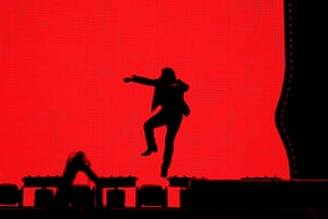 Bono of U2 performs at Suncorp Stadium in Brisbane on 12 November