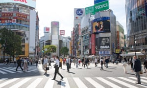 Shibuya's famous scramble crossing is quieter than usual amid the state of emergency due to the spread of the novel coronavirus.