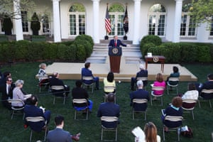 Washington DC, USPresident Trump speaks during the Coronavirus Task Force press briefing on the COVID-19 pandemic in the Rose Garden at the White House.