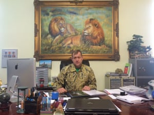 Oleg Zubkov in his office at the Taigan zoo