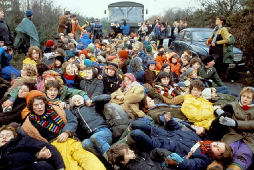 Protesters at Greenham Common in December 1982