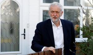 Jeremy Corbyn outside his home in London