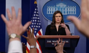 Sarah Sanders at the White House press briefing.