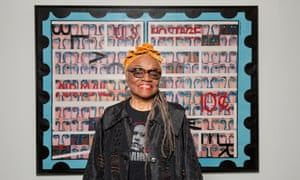 Artist Faith Ringgold in front of American People #19: US Postage Stamp at the Serpentine Galleries, London.