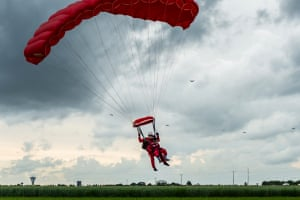Harry Read lands after parachuting into Sannerville, Normandy, France