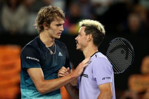 Zverev embraces with Bolt.
