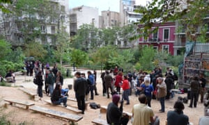 Locals gather in Navarinou Park, a community-managed public space central Athens.