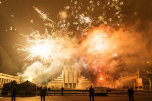 Fireworks at the New Year's Eve celebrations, Brussels, Belgium
